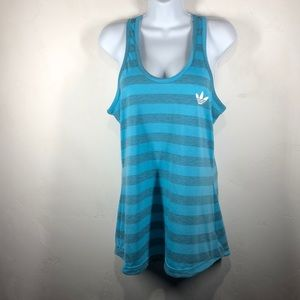 Adidas blue stripe tank size large